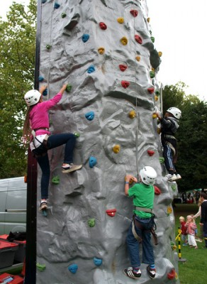 Climbing wall at Wanstead Festival