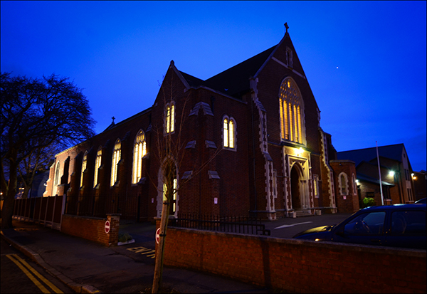 "© Geoff Wilkinson, who writes on Wanstead Daily Photo: ""This is another one of those pictures that I have been waiting ages to take.  It's a building that requires the right light and conditions to make it come to life.  This combination of the night sky and the lights burning bright in the church seemed to me to be just right."""